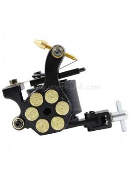 macchinetta per tatuaggi N105 10 strato di bobina shader di ferro Bullet Nero